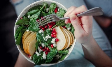 Top-view closeup of salad in bowl, held in hand of girl curled up on sofa, fork at the ready, sliced apples, pomegranate seeds