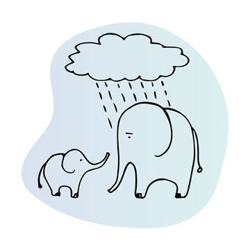 Elephant under a raincloud illustration