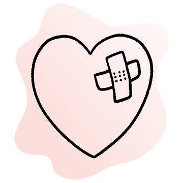 Line illustration of stylized heart with bandaid patch on it
