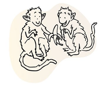 Line illustration of two smiling monkeys beside each other, one holding partially-peeled banana, the other helping to peel it