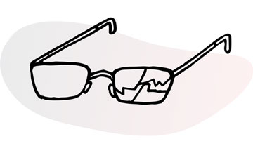 Line illustration of eyeglasses, one of its lenses severely cracked