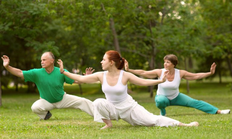 Three people on grass in park striking tai chi poses in unison