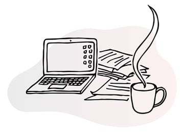 Line illustration of open laptop with icons visible in the desktop view, papers and a steaming cup of coffee beside it